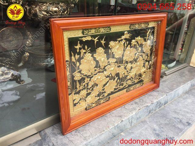 tranh hoa sen bằng đồng mạ vàng 24k kích thước 1m2x80cm