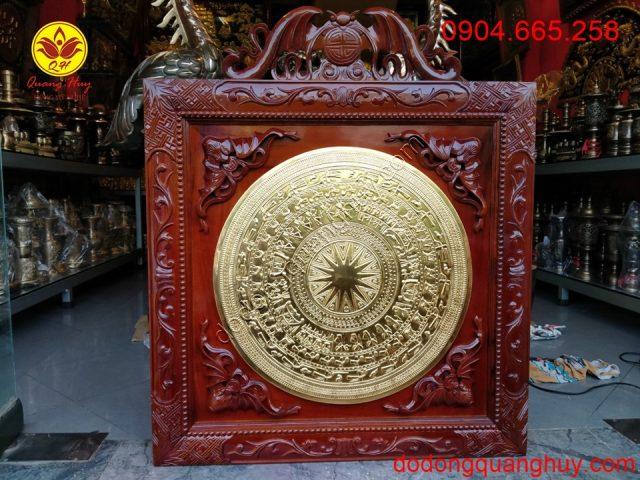 Mặt trống đồng mạ vàng đường kính 60cm khung gỗ cao cấp